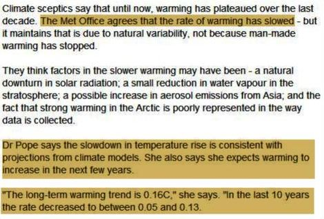 Met Office : Last Decade Warming Faster And Slower As Expected