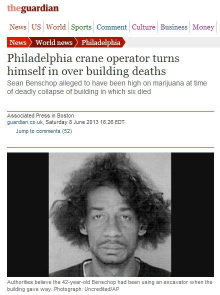 Philly crane operator was stoned