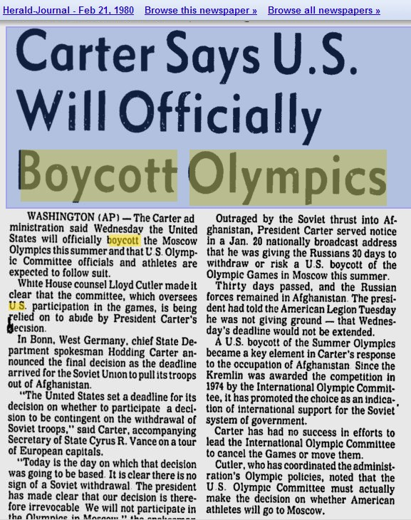 the moscow 1980 olympics boycott essay Of competing in the 1980 olympic summer games in moscow  like they had  been when the announcement was made to boycott the games.