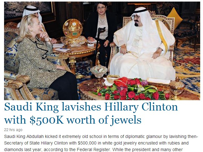 saudi king lavished hillary with 500k worth of gifts as